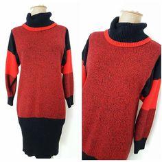 Vintage 80s Avant Garde Sweater Dress Size Medium Colorblock Turtleneck Stripe #Eber #SweaterDress #Casual