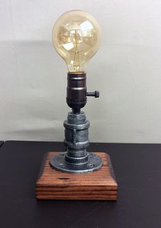Industrial Lamp-Rustic Table Lamp-Distressed Steel Pipe lamp-Vintage lamps – Steampunk Reading Desk Light- - ALL ABOUT Pipe Lighting, Edison Lighting, Task Lighting, Lampe Tube, Rustic Table Lamps, Pot Mason, Edison Lamp, Wood Pedestal, Steampunk Lamp