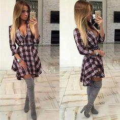 Casual Printed Long Sleeve Women Mini Dress