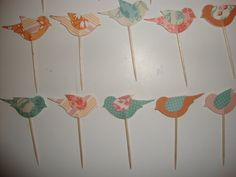 60 coral and aqua bird cupcake toppers- wedding, baby shower, customize colors, polka dot, flower print, glitter. $35.00, via Etsy.