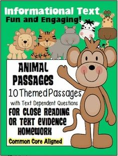 10 Animal Themed Passages for Close Reading or Text Evidence Homework Reading Comprehension Strategies, Reading Passages, Rainforest Classroom, Close Reading Lessons, Text Dependent Questions, Reading Stations, Text Evidence, 6th Grade Science, 3rd Grade Reading