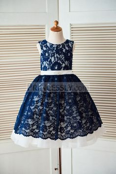 Navy Blue Lace Ivory Tulle Wedding Flower Girl Dress