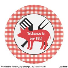 Welcome to our BBQ pig party paper plate  sc 1 st  Pinterest & Personalized Black Gingham Paper Plates 7 Inch Paper Plate | Family ...