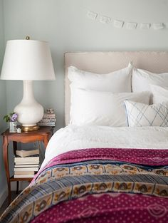 simple white bedding & kantha quilt