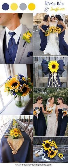Marine blue and sunflower rustic country wedding ideas #SeptemberWeddingIdeas