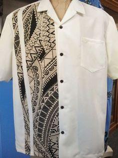 Men's Polynesian Tribal Shirt by Kemahani on Etsy Polynesian Designs, Polynesian Tribal, Polynesian Dresses, Samoan Men, Samoan Dress, Island Style Clothing, Tribal Shirt, Island Wear, Wedding Shirts