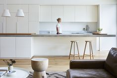 modern interior | white kitchen | cement counter | bench top | young family home | open-plan | west coast | Pipkorn & Kilpatrick Interior Architecture and design | Brighton house