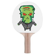 Red and green cartoon Halloween Frankenstein Ping Pong Paddle - humor funny fun humour humorous gift idea