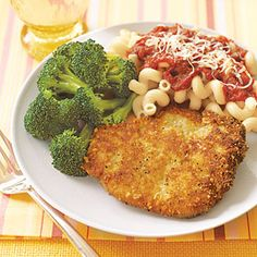 Parmesan Pork Cutlets - These cutlets are fried in just two tablespoons of oil, giving them a crispy crust while keeping fat and calories low. **They're also great on sandwich rolls topped with tomato sauce and melted mozzarella.** (I have always made my pork and chicken cutlets like this but I add some mayonnaise to the eggs to give it a little extra zip).