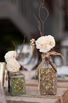 #rustic wedding with dried peas in the bottles  ... Wedding ideas for brides, grooms, parents & planners ... https://itunes.apple.com/us/app/the-gold-wedding-planner/id498112599?ls=1=8 ... plus how to organise your entire wedding ... The Gold Wedding Planner iPhone App ♥