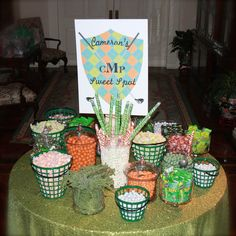 Golf candy table.