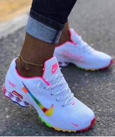 Women's Nike shoes for Sale in Bennington, VT - OfferUp Nike Air Shoes, Nike Shoes For Sale, Nike Shoes For Women, Cute Nike Shoes, Nike Shoes Outfits, Nike Free Shoes, Rainbow Nikes, Rainbow Outfit, Neon Rainbow