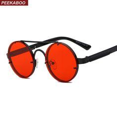 54b6a973ea 8.98 |Peekaboo rojo lente gafas de sol los hombres vintage 2018 steampunk,  gafas de sol para mujeres de plata de oro de metal plano superior uv400 en  Gafas ...