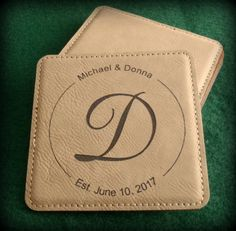Monogrammed Leather Coaster Bride And Groom by BPLaserEngraving
