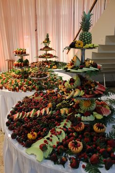 Check out the fruit and shrimp tables that Antone's Banquet Centre provided for Andrew and Sarah's wedding.