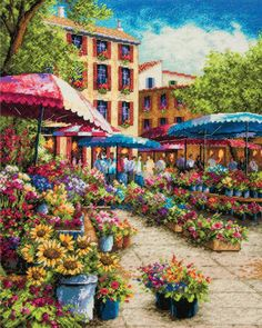 Gold Collection Provence Market Counted Cross Stitch Kit, 12 inch x 15 inch, Multicolor Hand Embroidery Kits, Learn Embroidery, Embroidery Patterns Free, Cross Stitch Embroidery, Cross Stitch Patterns, Cross Stitches, Modern Embroidery, Provence, Dimensions Cross Stitch