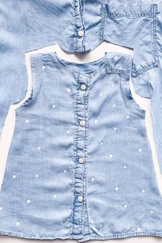 Denim Shirt Upcycling – or: Improving the world I simply cut out the baby dress from the middle of the shirt. Front and back are identical. The post Denim Shirt Upcycling – or: Improving the world appeared first on DIY Fashion Pictures. Sewing For Kids, Baby Sewing, Sewing Men, Sewing Patterns Free, Free Sewing, Fashion Moda, Diy Fashion, Fashion Dresses, Fashion Tips