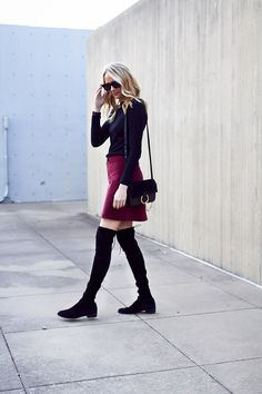 Fall Outfit, Black Sweater, Madewell Burgundy Suede Mini Skirt, Stuart Weitzman Lowland Over the Knee Boots, Chloe Faye Handbag