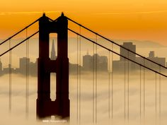 Transamerica Tower framed in the North Tower of the Golden Gate Bridge. Photographer, Nam Ing.