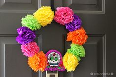 Make a Day of The Dead Colorful Wreath   Live Colorful