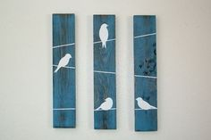 Rustic Wall Decor - Birds on a wire 3 Piece Set, SMALL