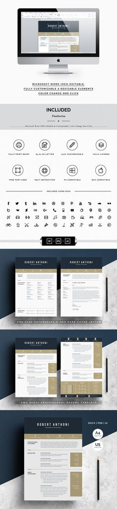 Clean Resume 2 Pages Modern Resume Templates Pinterest Print