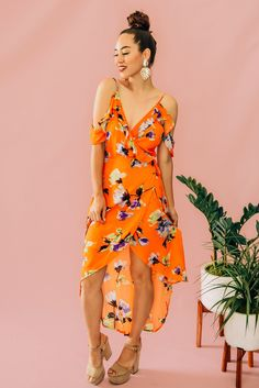 ORANGE LARGE PRINT FLORAL, COLD SHOULDER, WRAP DRESS. HIGH-LOW HEM AND RUFFLED SLEEVES. 100% RAYON. PIPER IS 5'4 SIZE 0, WEARING SMALL. S 0-4 M 4-8 L 8-12 Latest Summer Fashion, M 4, Late Summer, Large Prints, Cold Shoulder, High Low, Wrap Dress, Summer Dresses, Orange