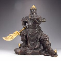 Chinese Bronze Carved Guangong Statue