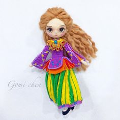 Amigurumi doll with detailed clothing. By Gomi Chen.