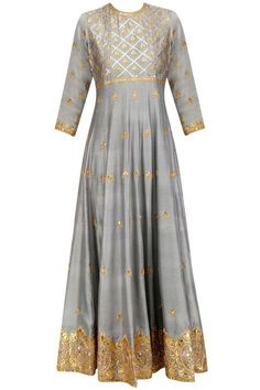 grey flared kalidaar anarkali kurta in cotton silk chanderi base with gold jaal pattern embroidery