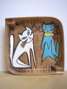 "Vintage+60s+Mid+Century+Modern+CATS+Hand+Painted+KBNY+7.5""+Ceramic+Art+Ashtray++"