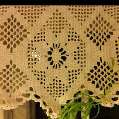 Lovely crocheted curtains by Emma's g'ma
