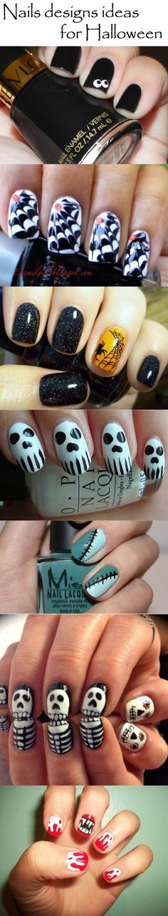cute Halloween nails; nails designs ideas for Halloween
