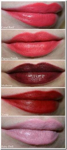 True Colour Lipsticks: Coral Reef (sheen), Papaya Punch (matte), Mulberry (sheen), Vamp (matte), Baby Doll (sheen)
