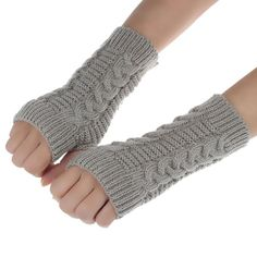 Good-looking Fashion Knitted Arm Winter Fingerless Gloves Women Soft Warm Mitten Free Shipping