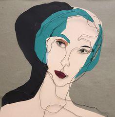 Mixed media. Steel wire portrait. Paper collage.  Celine. 50x50 cm.