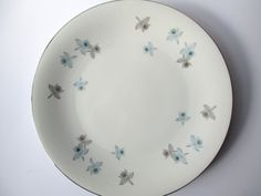 Large Vintage Harmony House Blue Orchid Serving by thechinagirl
