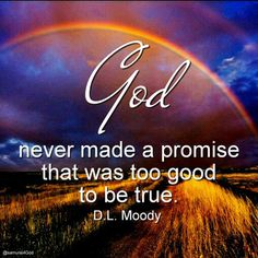 God never mad a promise that was too good to be true.  D. L. Moody
