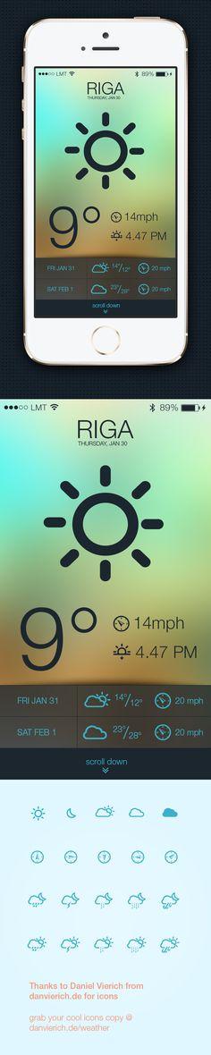 iPhone weather app by oru, via Behance