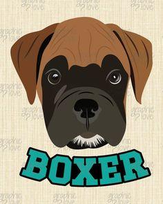 Boxer Dog Puppy Illustration Home Decor Art by GraphicLoveShop