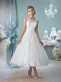 2016 Enchanting by Mon Cheri Wedding Dresses. Enchanting By Mon Cheri  116136 - Sleeveless tea-length lace over tulle A-line dress ... 06b1b10fa87c