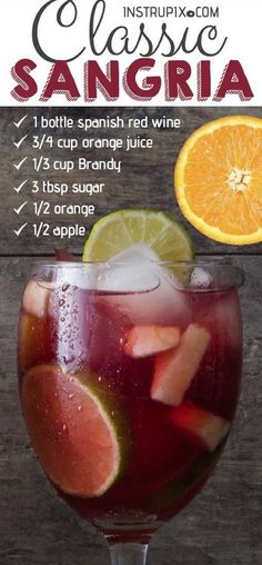 This quick and easy red sangria recipe is made with red wine, brandy, orange juice, sugar and fresh fruit. Simple ingredients with lots of flavor! # quick and Easy Recipes Easy Classic Red Sangria Recipe Best Sangria Recipe Ever, Red Sangria Recipes, Berry Sangria, White Wine Sangria, Summer Sangria, Peach Sangria, Summer Drinks, Cocktail Recipes, Sangria Drink
