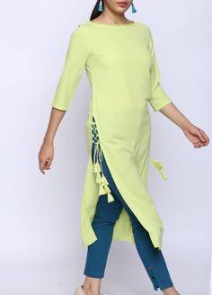 New Image : Salwar designs Kurti Sleeves Design, Kurta Neck Design, Sleeves Designs For Dresses, Sleeve Designs, Design Of Kurti, Neck Design For Kurtis, Stylish Kurtis Design, Frock Design, Dress Designs