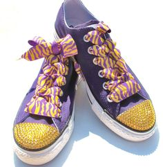 LSU bling Converse lowtop shoes covered in genuine Swarovski crystals by  KayBellissima a7da37d6f