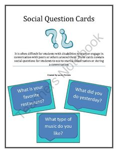 Conversation Starter/ Social Question Cards from spedteacher27 on TeachersNotebook.com -  (3 pages)  - These cards contain social questions for students to use to start a conversation or during a conversation.