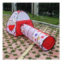 AGPtek® Play Tent Dot Design Princess Castle Pop Up PlayHouse Gift Toy Indoor Outdoor for Girls Children Kids Kids Play Tunnel, Play Tent And Tunnel, Kids Tents, Play Tents, Hut House, House Tent, Pop Up Play, Polka Dot Theme, Portable Tent