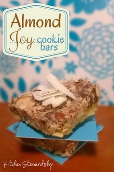 Make your own quick and easy healthy Almond Joy Cookie Bars with real ingredients. Gluten-free and dairy-free and barely any sweetener. Kids will love to help make these.