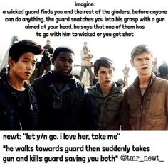 """You hug him tightly and whisper. """"Thank you"""" """"No problem baby"""" Then you pull away from the hug and kiss him on the lips in front of the Gladers, Who most of them wolf whistle and you tell them to shut up by flipping them off. They all laugh, because you are a badass kissing."""
