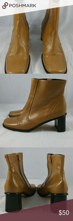 """Women?s Etienne Aigner Zipper Boots Smatter style Ankle high Size 8.5 M Color - Tan/Camel Leather upper, inside zippers, and are in great condition.    Approximate measurements: 2.75"""" heel,  3"""" wide insole, and 9.75"""" long on the insole. 7.5"""" high from the floor Best price listed at facebook.com/CombsConnection/shop Etienne Aigner Shoes Heeled Boots"""