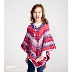 Crochet kit to make this Girls Poncho pattern in Bernat Pop Yarn. Includes 3 balls of Bernat Pop Yarn in the color of your choice and one free pattern and 1 H or mm crochet hook. Crochet Poncho Patterns, Crochet Cardigan, Crochet Shawl, Crochet Yarn, Easy Crochet, Free Crochet, Baby Cardigan, Crochet Summer Hats, Crochet Girls